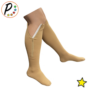 Closed Toe 8-15 mmHg Mild Zipper Compression Leg Calf Circulation Support Sock