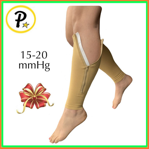 a1c220b2f6 15-20 mmHg Compression Calf Sleeve With Zipper Leg Circulation Swelling  Support