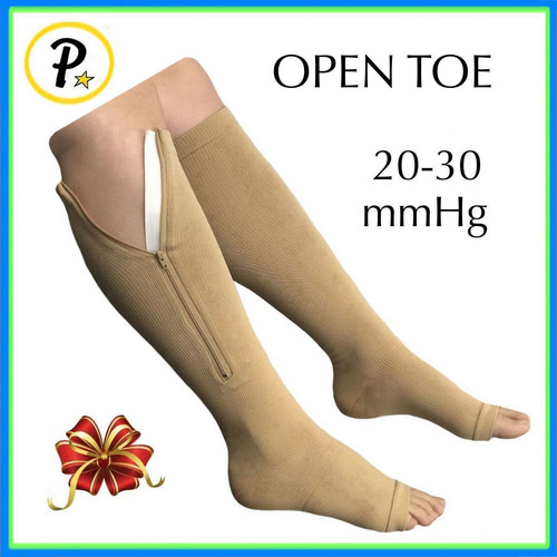 364bd6be4cfd0e Original Open Toe 20-30 mmHg Zipper Compression Leg Swelling Fatigue Sock