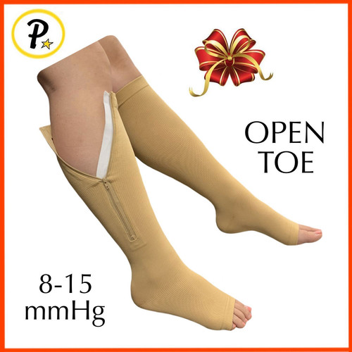 b79186128855d6 8-15 mmHg Zipper Compression Increase Leg Travel Circulation Open Toe Sock