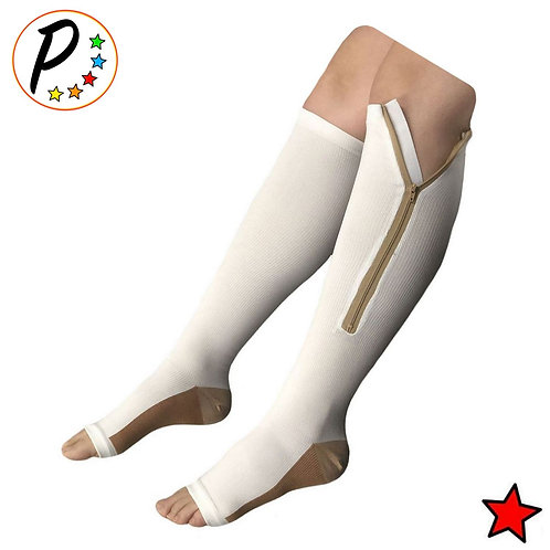 Copper Infused 20-30 mmHg Firm Zipper Compression Long Knee Length Open Toe Sock