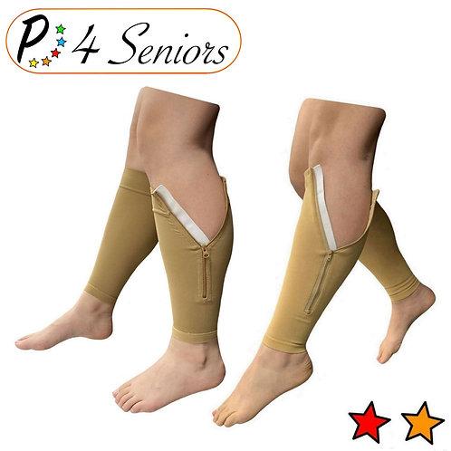 Seniors Footless 15-20 & 20-30 mmHg Compression Leg Calf With Zipper Mix & Match