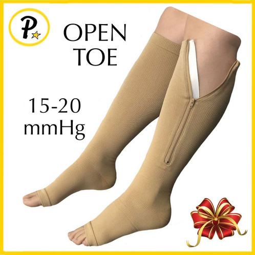 0dc32167b0 Open Toe 15-20 mmHg Zipper Compression Circulation Swelling Knee Length Sock