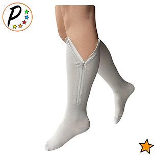 Closed Toe Grey 15-20 mmHg Moderate Zipper Compression Sock Leg Calf Support