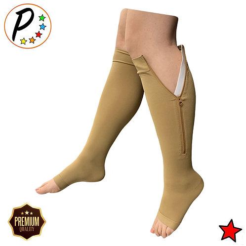 (BIG & TALL) Premium Open Toe 20-30 mmHg Zipper Compression Circulation Sock