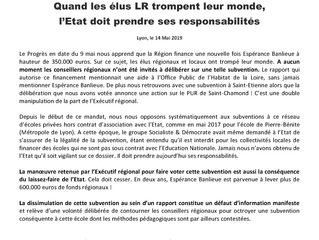"""Subvention à Espérance Banlieue : quand les élus """"Les Républicains"""" du Conseil Régional tr"""