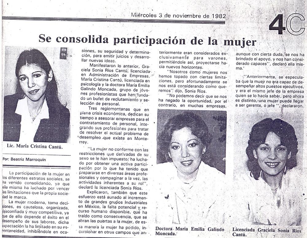 Primer reportaje en El Norte 1982 1er Aniversario