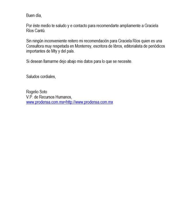 Recomendación Prodensa - Rogelio Soto Vicepresidente RRHH