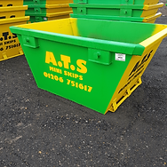 2 Yard Mini Skip | Green and Yellow 2 Yard Skip | ATS Mini Skip Hire