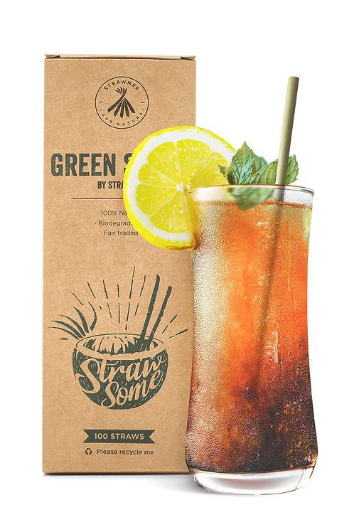 strawmee green straw longdrink 15cm mit verpackung
