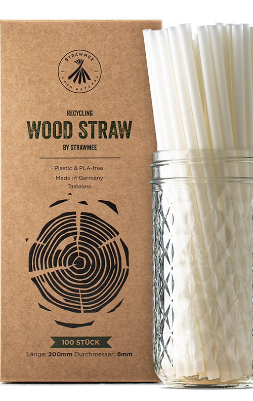 Strawmee Recycling Wood Straws - Longdrink Größe (20 cm / 6mm)