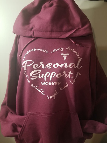 Pink Heart Personal Support worker Hoodie