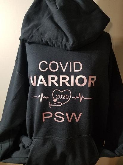 Covid Warrior PSW Hoodie Pink Logo