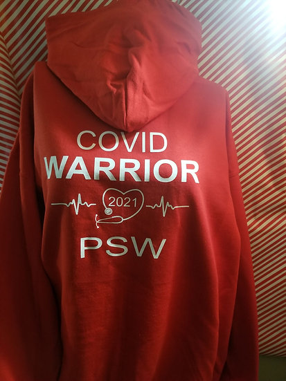 Zip Up Hoodie Covid PSW Back& PSW life at the front