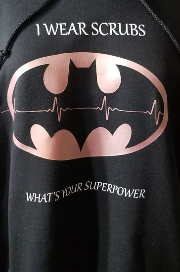 Zip Up Hoodie Batman superpower at the Back &PSW life at the fron