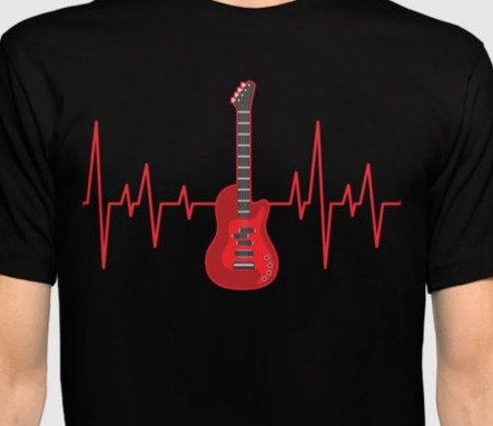 Heart rate with Guitar Tshirt