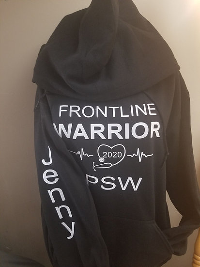Hoodie Frontline Warrior PSW with Name and Back PSW life