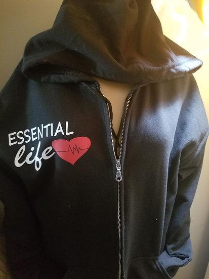 Zip Up Hoodie Essential warrior back Essential Life front