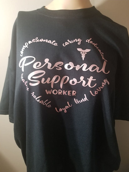 Tshirt Heart shape Personal support worker  Pink letters