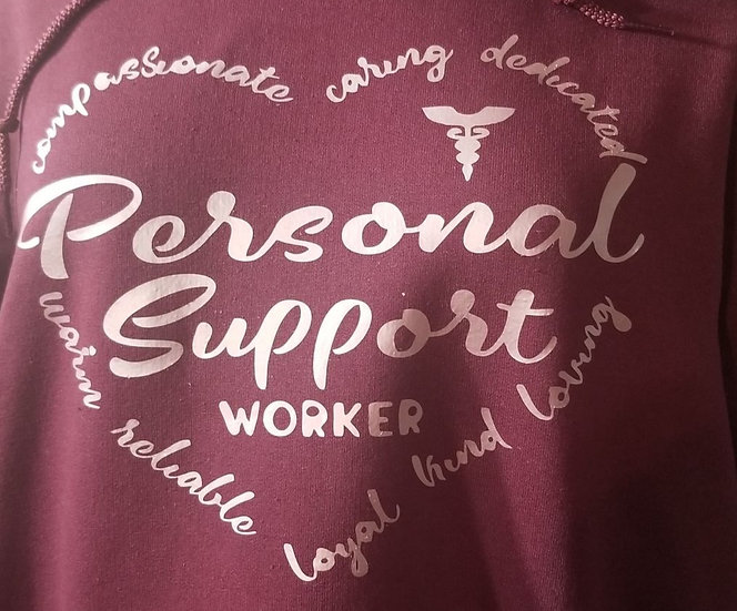 Zip Up Hoodie Pink Heart Personal support worker at the Back
