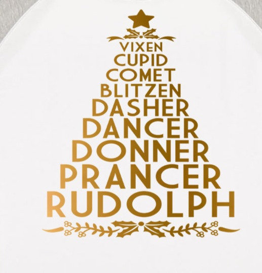 Tree with all the Reindeer Names Tshirt in Gold Vinyl