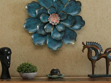 This Astoundingly Designed Blue Metal Wall Art Creates A Unique Vibe