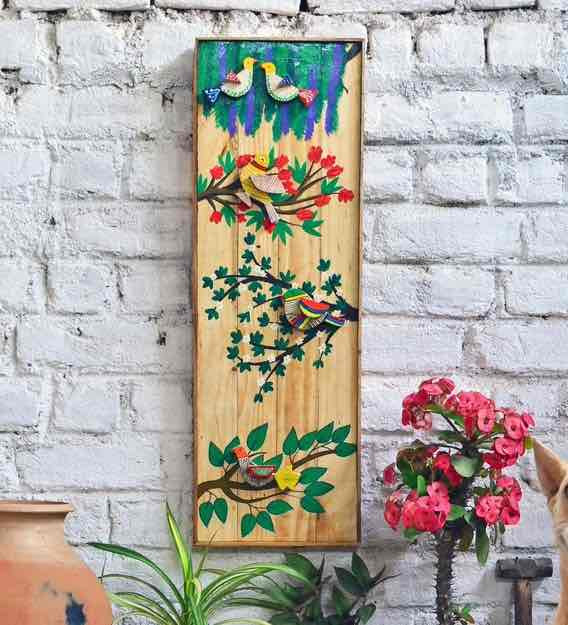 Style With Wooden Hand Painted 3D Wall Mural Design