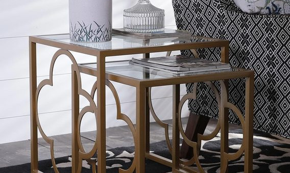 Set of Contemporary Style Tables with Solid Glass Combination