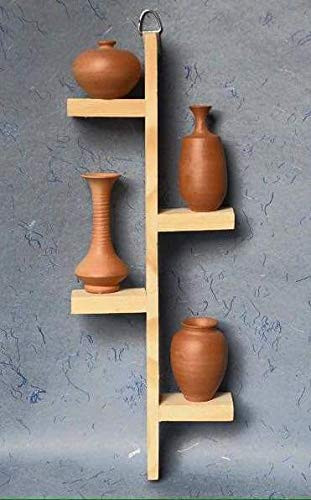 Home Interior Wall Art Terracotta Pots with Pine Wood Frame