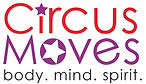 Circus Moves Logo: Reads Circus Moves Body. Mind. Spirit. Circus is red and the dot on the eye is a star, Moves is purple and there is a star inside of the circle.