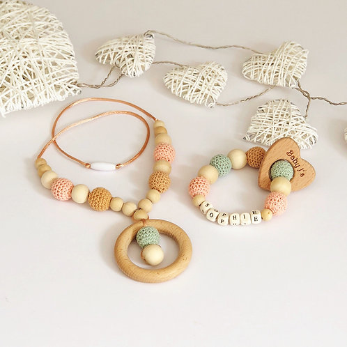 Natural Wooden Personalised Teething Rattle & Mummy Necklace set