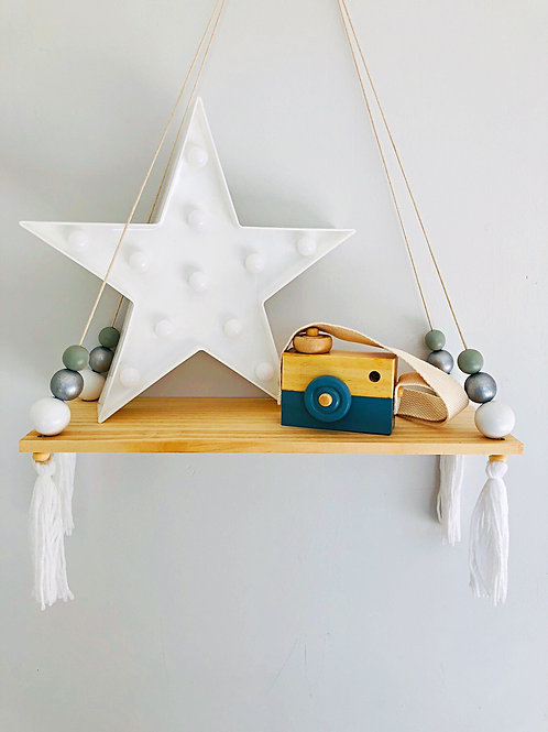 White & Silver wooden beaded display shelf