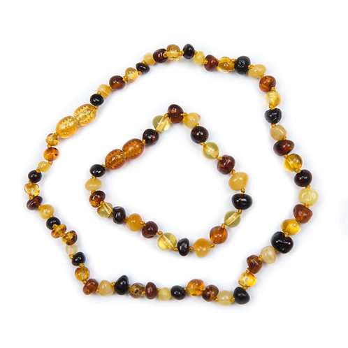 Multi Coloured Amber Necklace & Anklet Set