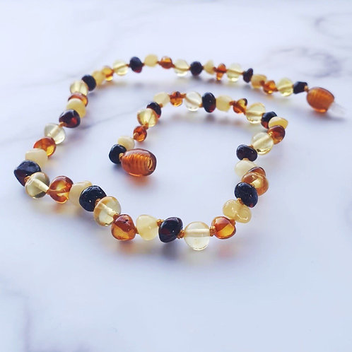 Small Bead Multi Amber Necklace