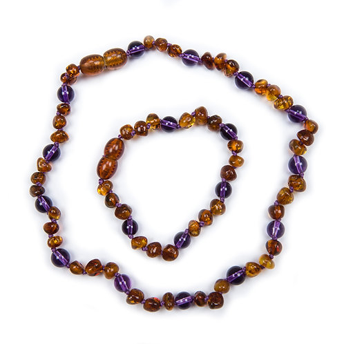 Honey and Amethyst Necklace & Anklet set