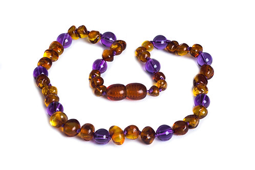 Honey & Amethyst Amber Necklace
