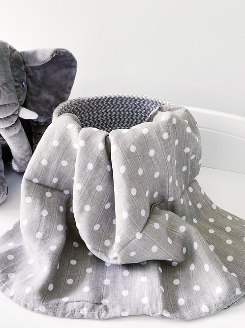 Grey Polka Dot X-large Muslin