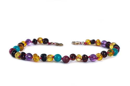 Ladies Cherry & Honey Amber with Rose Agate, Turquoise & Amethyst Anklet