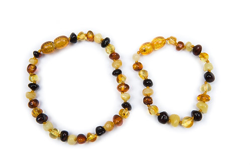 Multi Coloured Amber Mummy & Child set