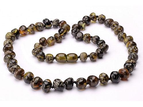 Dark Green Amber Necklace