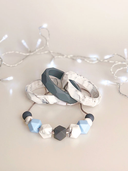 Hint of Blue and Marble Jewellery Set