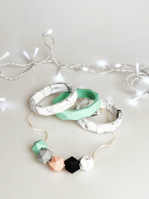 Mint and Marble Jewellery Set