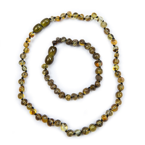 Green Amber Necklace & Anklet set