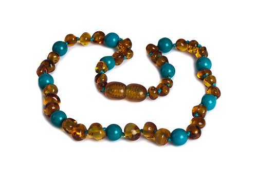 Cognac & Turqouise Baltic Amber Necklace