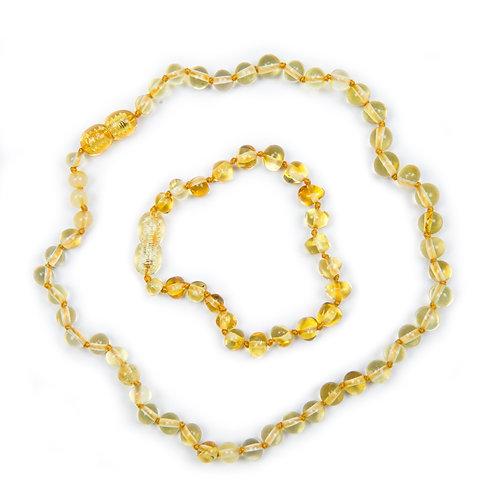 Lemon Amber Necklace & Anklet set