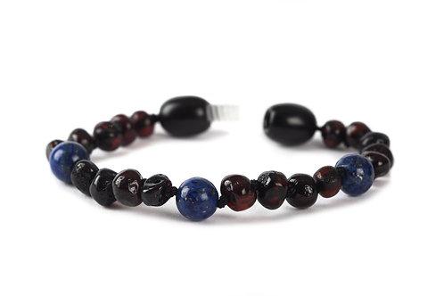 Cherry & Lapis Lazuli Baltic Amber Anklet/Bracelet