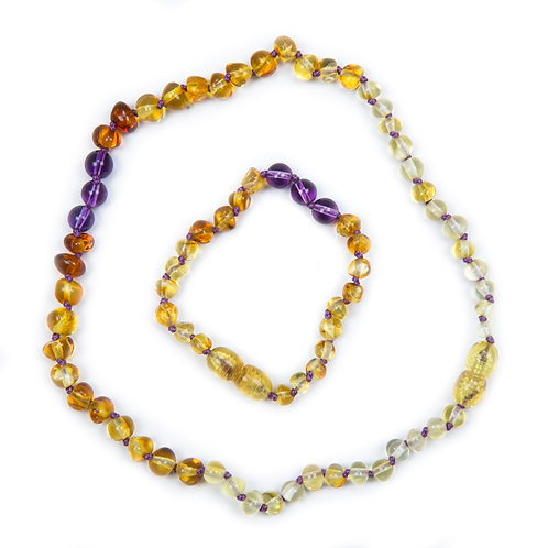 Baby J's Signature Amber Necklace & Anklet set