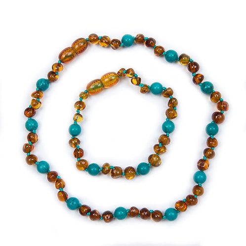 Cognac & Turquoise Amber Necklace & Anklet set