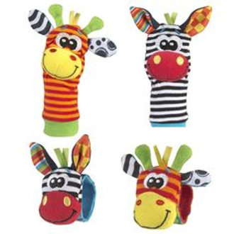 Baby sock and wrist rattles 4-piece set
