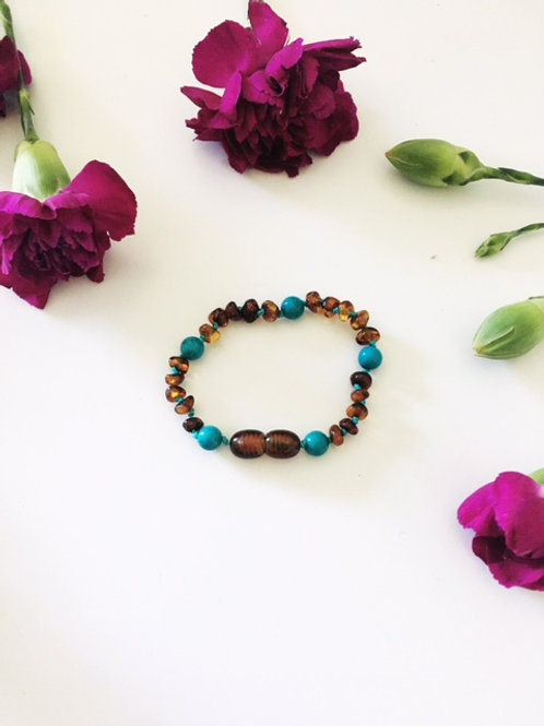Small Beaded Cognac Turquoise Anklet